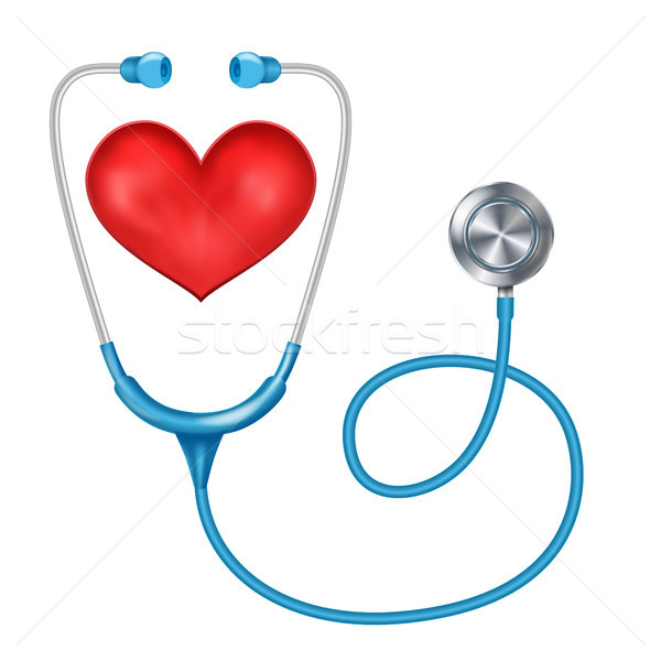 Stethoscope Isolated Vector. Medical Equipment. Red Heart. Health are Concept. Isolated On White Bac Stock photo © pikepicture