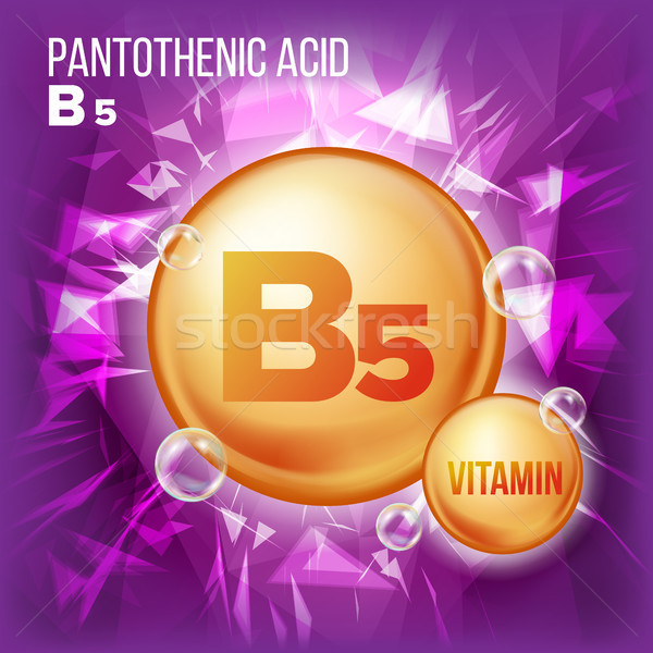 Vitamin B5 Pantothenic Acid Vector. Vitamin Gold Oil Pill Icon. Organic Vitamin Gold Pill Icon. Caps Stock photo © pikepicture
