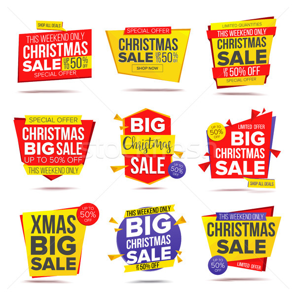 Biggest Xmas Offer Sale Banner Vector. Crazy Sale Poster. Isolated Illustration Stock photo © pikepicture