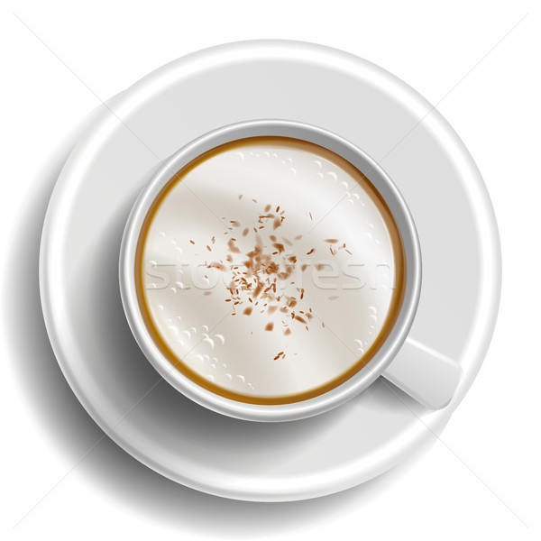 Coffee Cup Vector. Top View. Hot Latte Coffee. Milk, Espresso. Whipped Fast Food Cup Beverage. White Stock photo © pikepicture