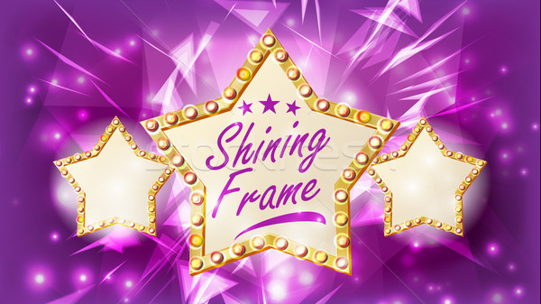 Star frame vector drie gouden vorm Stockfoto © pikepicture