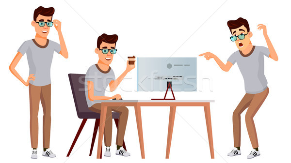 Office Worker Vector. Set. Adult Business Male. Successful Corporate Officer, Clerk, Servant. Isolat Stock photo © pikepicture