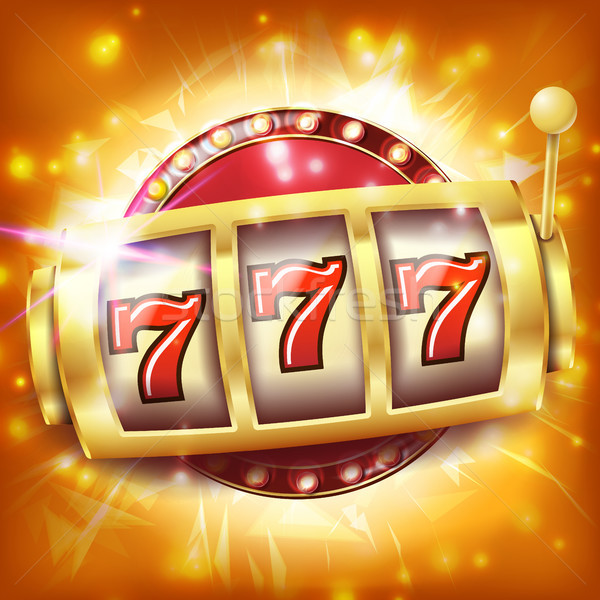 Casino Slot Machine Banner Vector. Sevens Jackpot Concept. Spin Object. Illustration Stock photo © pikepicture