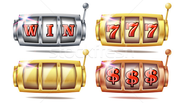 Slot Machine Set Vector. 777. Big Win Banner Element. Golden, Silver, Bronze. Spin Machine Template. Stock photo © pikepicture