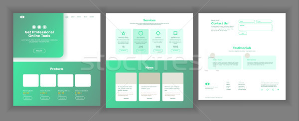 Web Page Design Vector. Website Business Graphic. Responsive Interface. Landing Template. Futuristic Stock photo © pikepicture