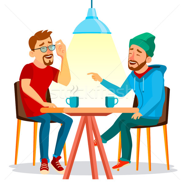 Two Man Friends Drinking Coffee Vector. Best Friends In Cafe. Sitting Together In Restaurant. Have F Stock photo © pikepicture