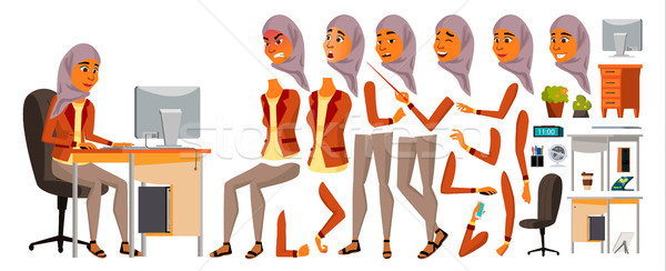 Arab Woman Office Worker Vector. Woman. Animated. Professional Clerk. Adult Business Female. Lifesty Stock photo © pikepicture