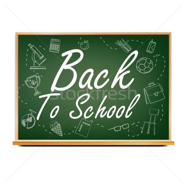 Back To School Banner Design Vector. Green. Classroom Blackboard. Sale Poster. 1 September. Educatio Stock photo © pikepicture