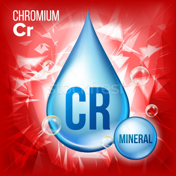 Chroom vector mineraal Blauw drop icon Stockfoto © pikepicture