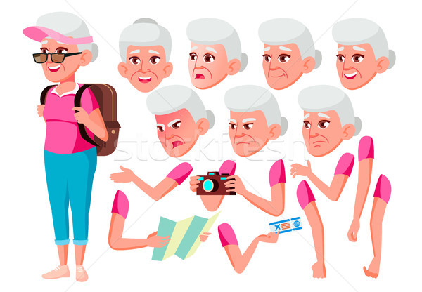 Old Woman Vector. Senior Person. Aged, Elderly People. Friendly, Cheer. Face Emotions, Various Gestu Stock photo © pikepicture
