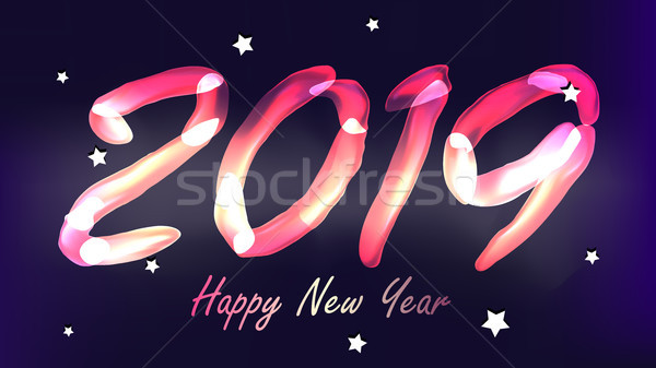 2019 Happy New Year Background Vector. Glow Neon Light. Numbers 2019. Christmas, New Year Poster Des Stock photo © pikepicture