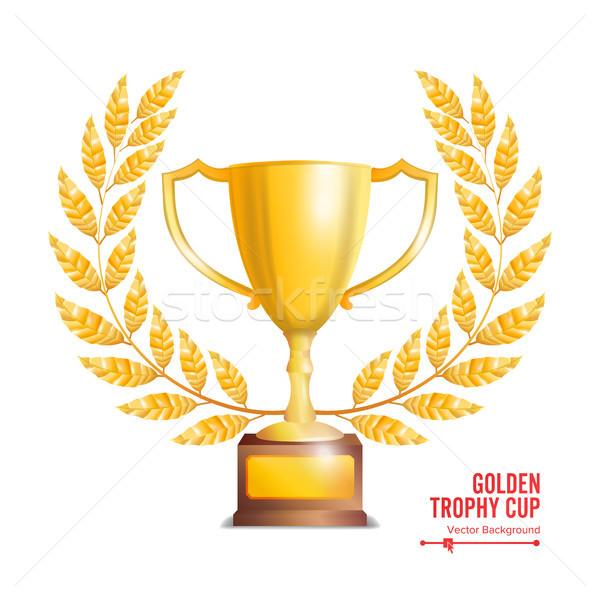 Stockfoto: Gouden · trofee · beker · laurier · krans · gunning