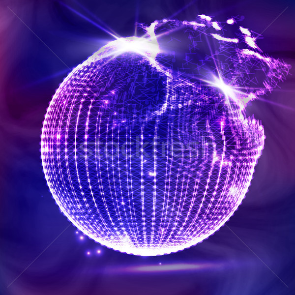 Flying Debris. 3D Vector Illustration. Science And Technology Background. Futuristic Earth Globe. 3d Stock photo © pikepicture