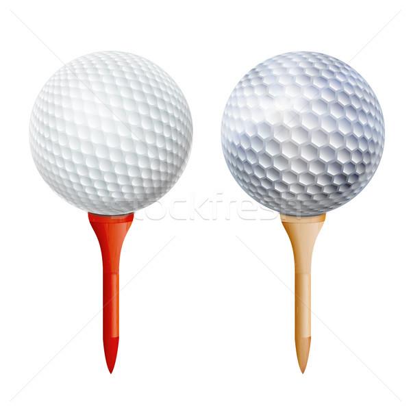 Сток-фото: реалистичный · мяч · для · гольфа · вектора · изолированный · иллюстрация · белый