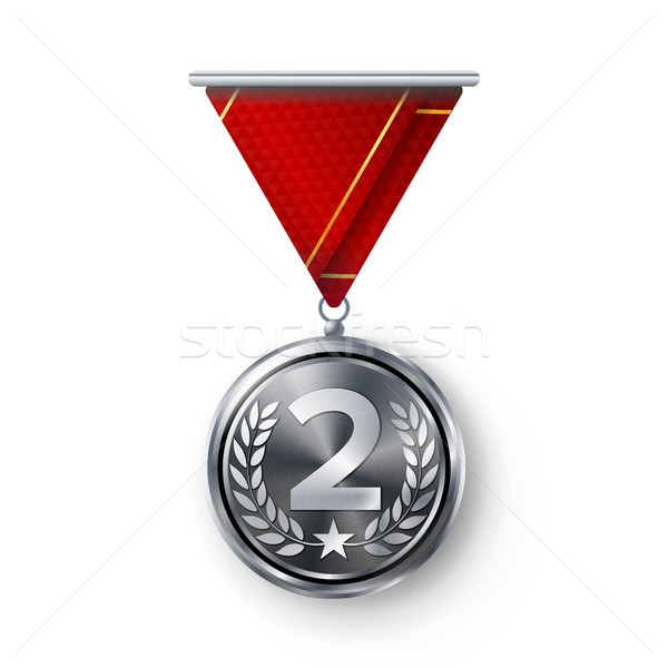 Silver Medal Vector. Metal Realistic Second Placement Achievement. Round Medal With Red Ribbon, Reli Stock photo © pikepicture