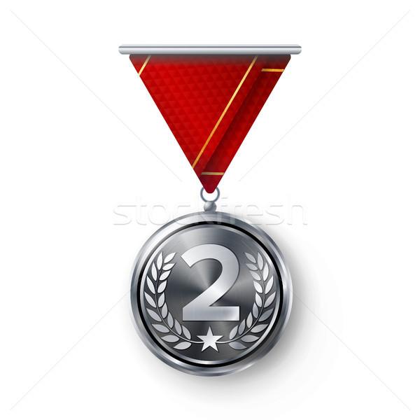серебро медаль вектора металл реалистичный второй Сток-фото © pikepicture