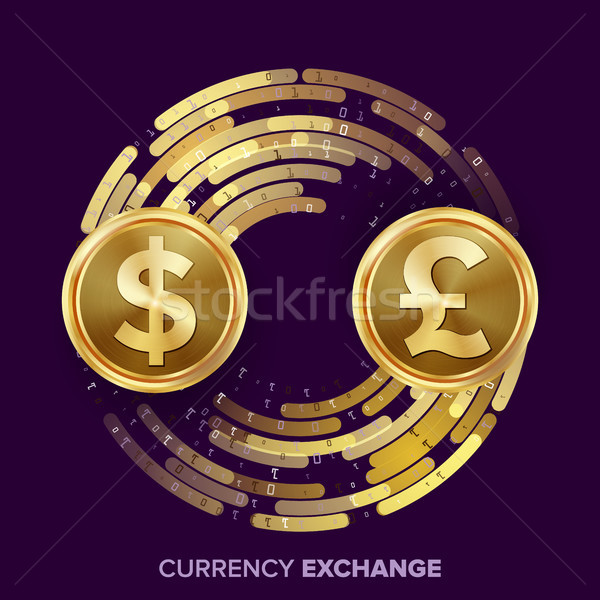 Money Currency Exchange Vector. Dollar, GBP. Golden Coins With Digital Stream. Conversion Commercial Stock photo © pikepicture