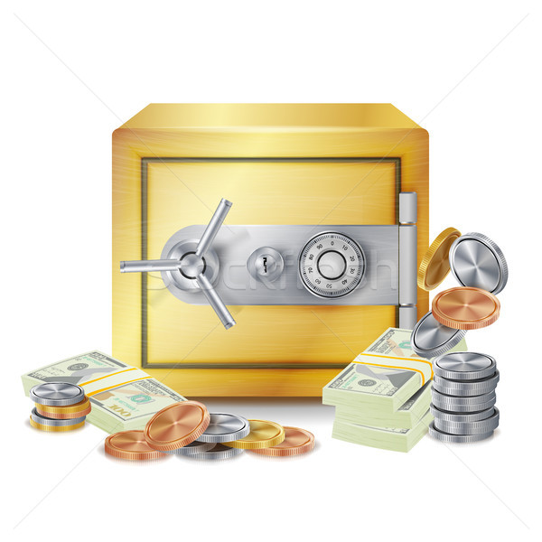 Safe And Money Stacks Vector. Safe, Coins And Dollar Banknotes Stacks Isolated Illustration. Finance Stock photo © pikepicture