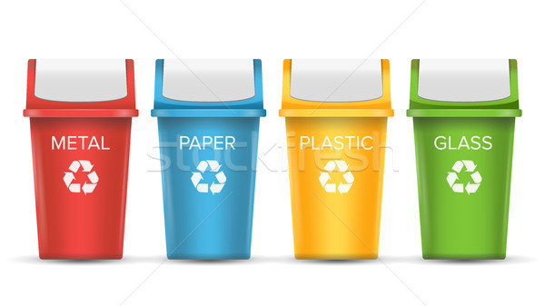 Colorful Recycle Trash Bins Vector. Set Of Realistic Red, Green, Blue, Yellow Container Buckets. Iso Stock photo © pikepicture