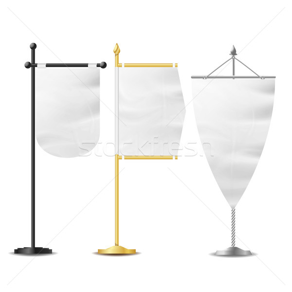 Realistic Small Table Flag Set Vector. Isolated On White Background. Vector Table Flag Mockup For Bu Stock photo © pikepicture