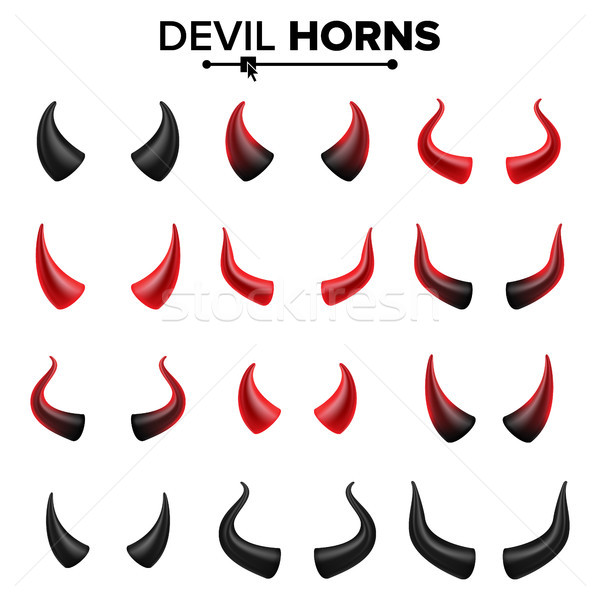 Devil Horns Set Vector. Good For Halloween Party. Satan Horns Symbol Isolated Illustration. Stock photo © pikepicture