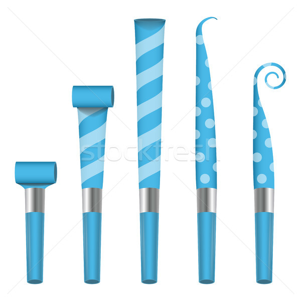 Parti boynuz üfleyici vektör mavi imzalamak Stok fotoğraf © pikepicture