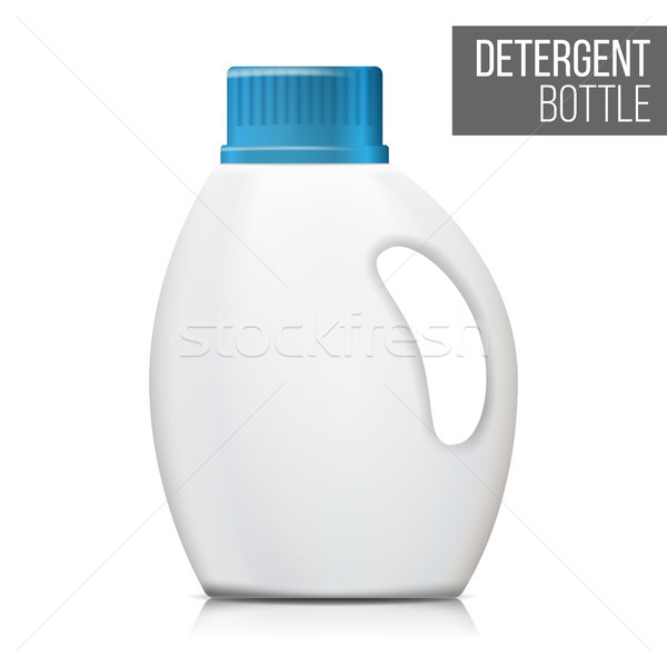 Detergent Bottle Vector. Realistic Mock Up. White Clean Plastic Bottle For Household Chemicals. Pack Stock photo © pikepicture