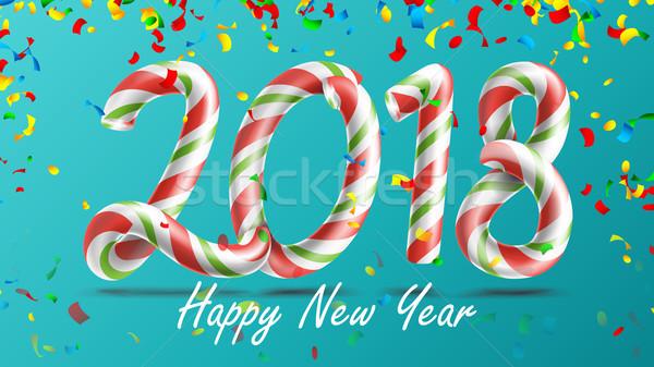 с Новым годом вектора 3D числа знак Рождества Сток-фото © pikepicture