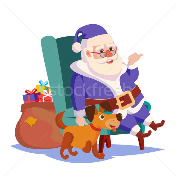 Santa Claus Sitting On Chair Vector. Funny Dog. Heavy Sack Full Of Gifts Boxes Vector. Blue Santa Su Stock photo © pikepicture
