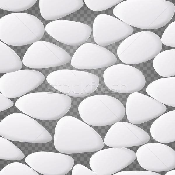 Bianco ciottolo vettore naturale realistico 3D Foto d'archivio © pikepicture