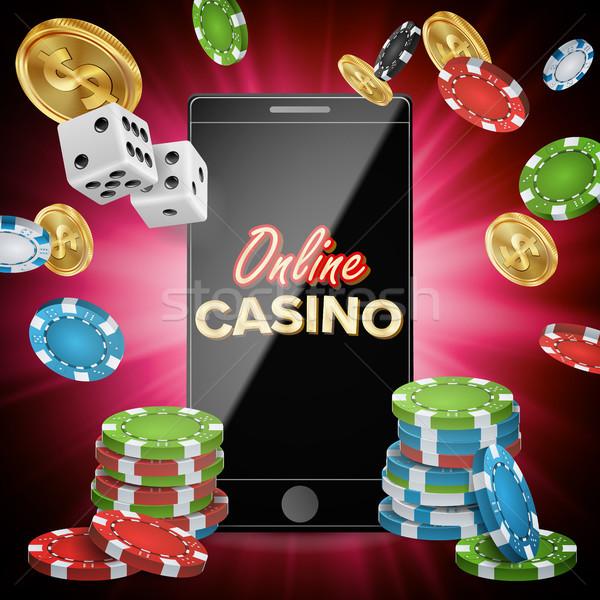ストックフォト: を · カジノ · ベクトル · バナー · 携帯電話 · 演奏