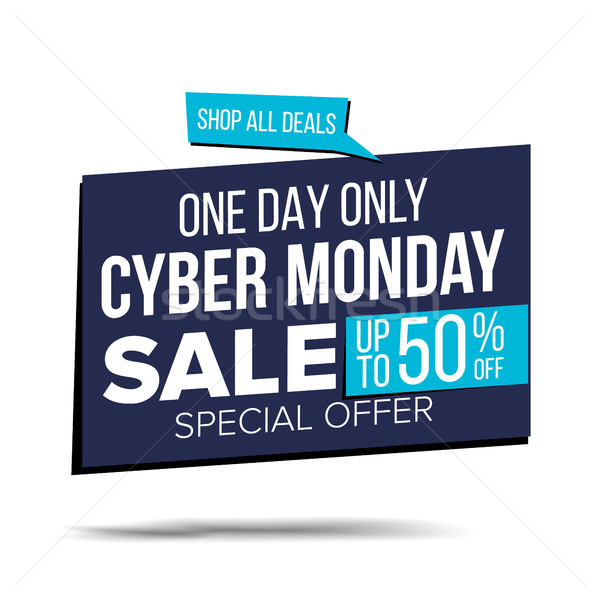 Cyber Monday Sale Banner Vector. Special Offer Sale Banner. Holidays Sale Announcement. Isolated On  Stock photo © pikepicture