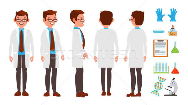 Classic Scientist Vector. Science Experiment. Research And Exploration. Biological Laboratory Worker Stock photo © pikepicture