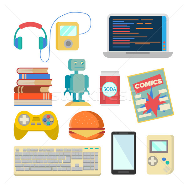Nerd Items Set Vector. Geek Accessories. Headphones, Player, Laptop, Robot, Toy, Phone, Keyboard, Te Stock photo © pikepicture