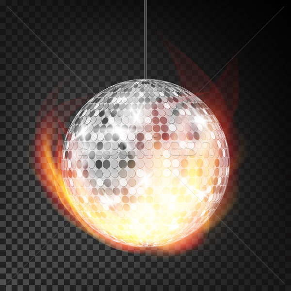 Silver Disco Ball In Fire Vector Realistic. Burning Dance Night Club Ball. Transparent Background Il Stock photo © pikepicture