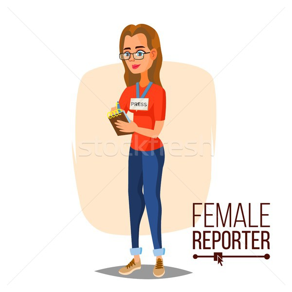 Female Journalist Vector. Microphone. Professional Reporter Isolated Flat Cartoon Character Illustra Stock photo © pikepicture