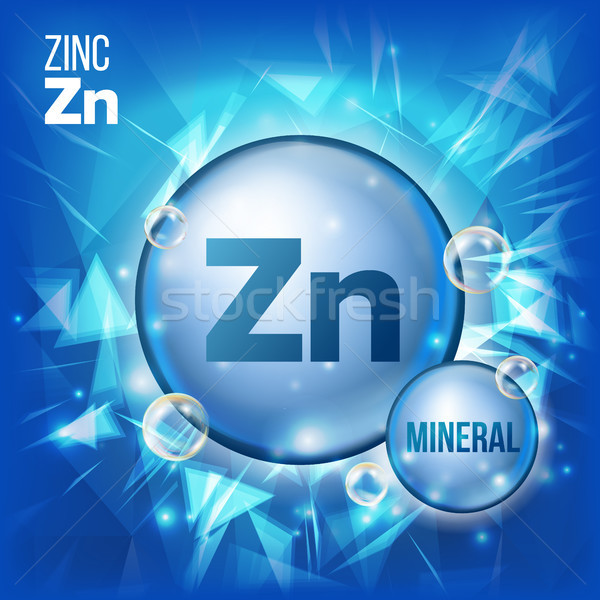 Zn Zinc Vector. Mineral Blue Pill Icon. Vitamin Capsule Pill Icon. Substance For Beauty, Cosmetic, H Stock photo © pikepicture