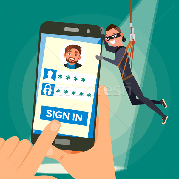 Thief Stealing Personal Data Vector. Hacker Character. Crack User Personal Information. Fishing Atta Stock photo © pikepicture