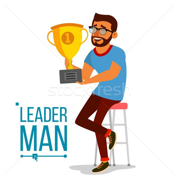 Attainment Concept Vector. Businessman Leader Holding Winner Golden Cup. Objective Attainment, Achie Stock photo © pikepicture