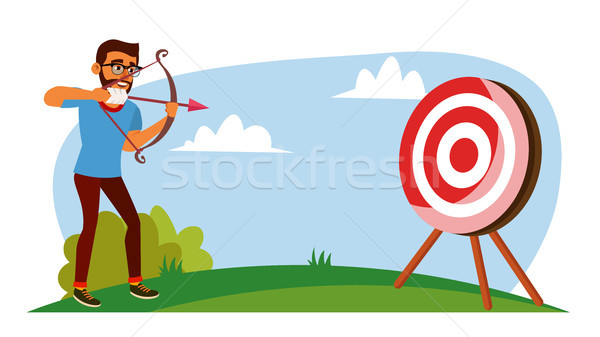 Stock photo: Attainment Concept Vector. Businessman Shooting From A Bow In A Target. Objective Attainment, Achiev