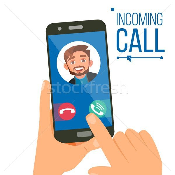 Incoming Call Vector. Man Face On Mobile Smartphone Screen. Calling Service Application. Video, Voic Stock photo © pikepicture