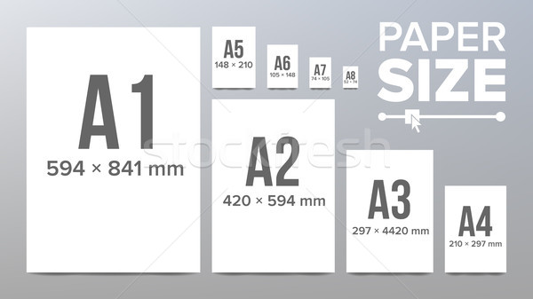 Paper Sizes Vector. Paper Size Standards. Isolated Illustration Stock photo © pikepicture