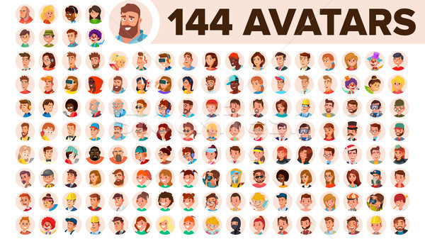 People Avatar Set Vector. Man, Woman. Human Emotions. Anonymous Male, Female. Icon Placeholder. Pers Stock photo © pikepicture
