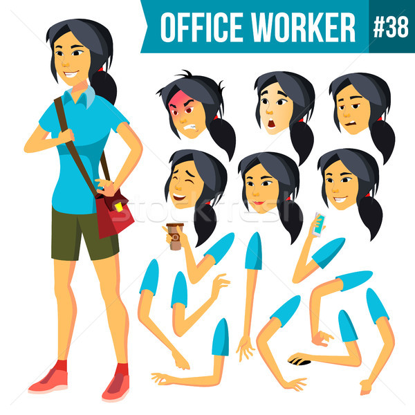 Office Worker Vector. Woman. Successful Officer, Clerk, Servant. Business Woman Worker. Face Emotion Stock photo © pikepicture