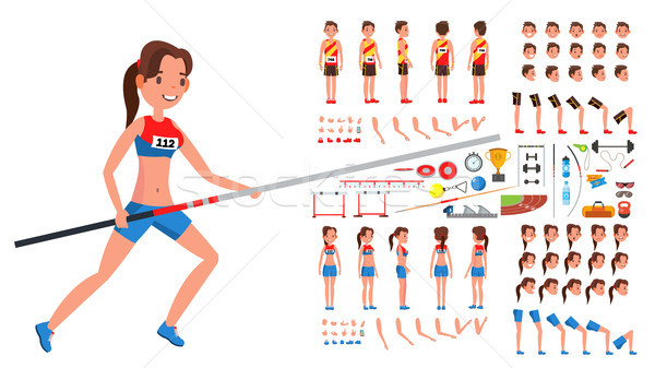 Athletics Player Male, Female Vector. Athlete Animated Character Creation Set. Man, Woman Full Lengt Stock photo © pikepicture