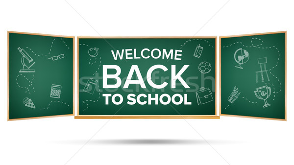 Back To School Banner Vector. Green. Classroom Chalkboard. Doodle Icons. Sale Flyer. Welcome. Retail Stock photo © pikepicture