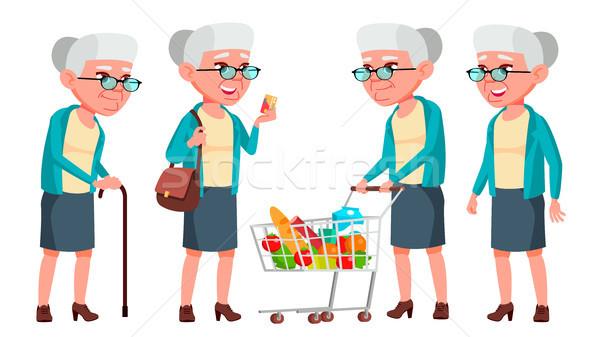 Oude vrouw ingesteld vector ouderen mensen senior Stockfoto © pikepicture