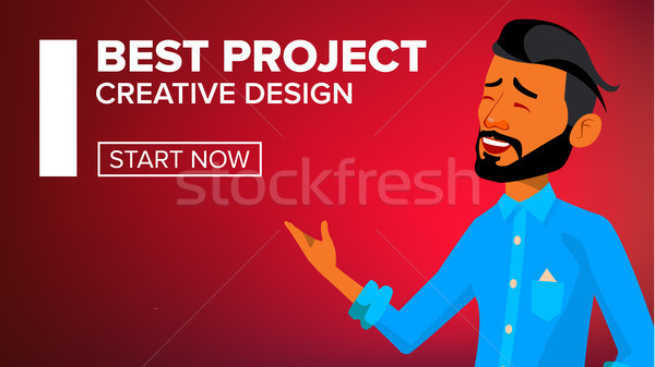 Arab Man Banner Vector. Traditional Cloths. Arab Businessman. For Advertising, Booklet, Placard Desi Stock photo © pikepicture