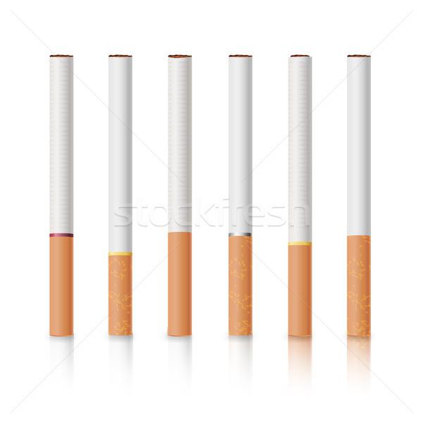 Klasyczny papierosów zestaw żółty odizolowany biały Zdjęcia stock © pikepicture