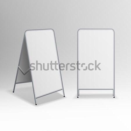 Metal Empty Blank Advertising Street Handheld Vector. Empty Information Board Stock photo © pikepicture
